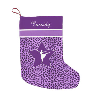 Dancer in Purple Cheetah Print with Monogram Small Christmas Stocking