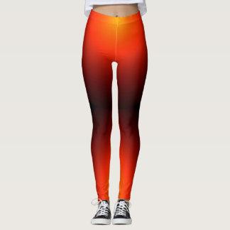 Dancer Orange Starburst Modern Chic Fashion Style Leggings