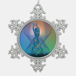 Dancer *Pheja* Snowflake Pewter Christmas Ornament