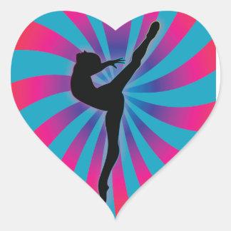 Dancer Radial Rainbow Heart Stickers