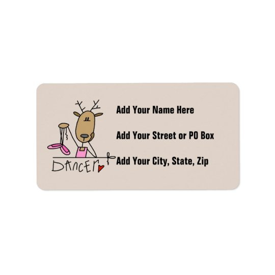 Dancer Reindeer T-shirts and Gifts Address Label