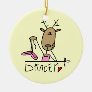 Dancer Reindeer T-shirts and Gifts Round Ceramic Decoration