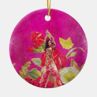Dancer Rose Flowers Grunge Round Ceramic Decoration