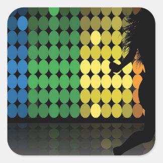Dancer Silhouette Dance Woman Colorful Design Square Sticker