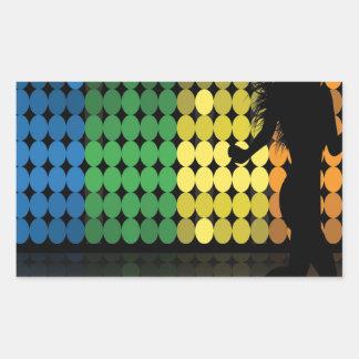 Dancer Silhouette Dance Woman Colorful Design Rectangle Sticker