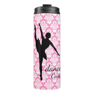 Dancer Silhouette Pink Damask Thermal Tumbler