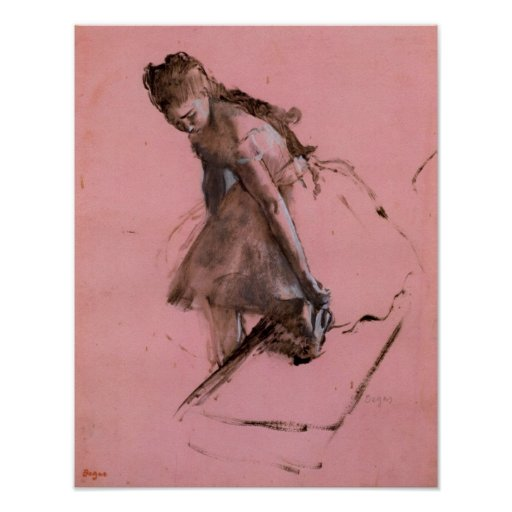 Dancer slipping on her shoe by Edgar Degas Posters