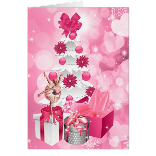 Dancer Themed Pink Ballerina Christmas Card