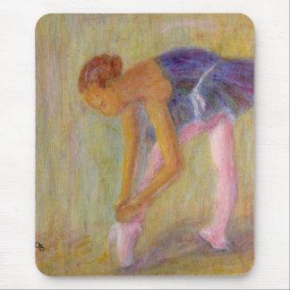 Dancer Tying Her Ballet Shoes Mousepad