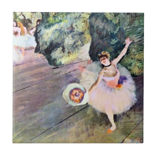 Dancer with a Bouquet of Flowers by Edgar Degas Small Square Tile