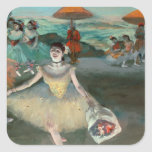 Dancer with bouquet, curtseying, 1877 square sticker