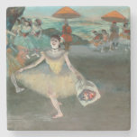Dancer with bouquet, curtseying, 1877 stone beverage coaster