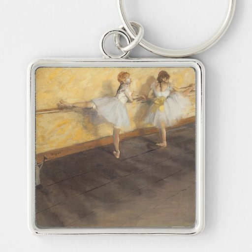 Dancers at the Bar by Edgar Degas, Vintage Ballet Silver-Colored Square Key Ring