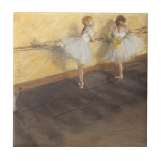 Dancers at the Bar by Edgar Degas, Vintage Ballet Small Square Tile