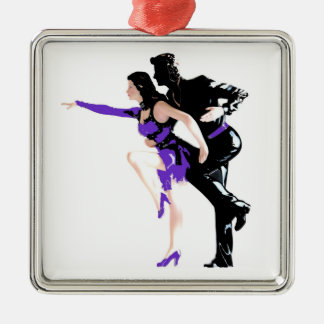 Dancers Silver-Colored Square Decoration