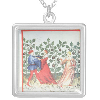 Dancers in front of Broom Plants, 13th century Silver Plated Necklace