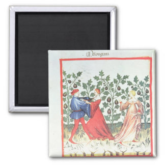 Dancers in front of Broom Plants, 13th century Square Magnet