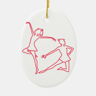 Dancers Outline Ceramic Oval Decoration
