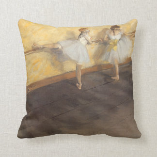 Dancers Practicing at the Barre by Edgar Degas Throw Pillow