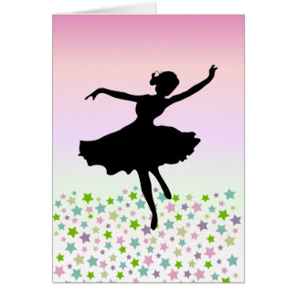 Dancing amongst the stars - pink sunset greeting card