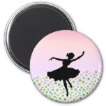 Dancing amongst the stars - pink sunset 6 cm round magnet