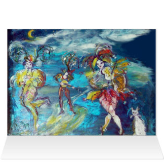 DANCING AND MUSIC IN THE NIGHT,Venetian Masquerade Greeting Card