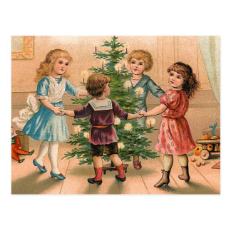 Dancing Around the Christmas Tree Postcard