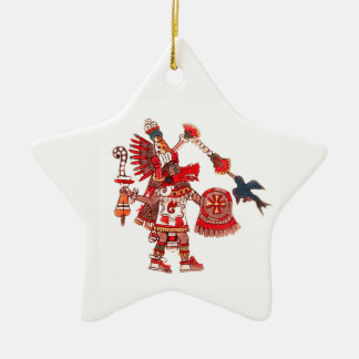Dancing Aztec shaman warrior Ceramic Star Decoration