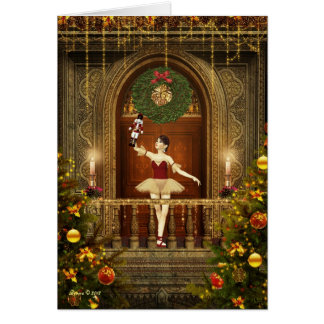 Dancing Ballerina and Nutcracker Christmas Card