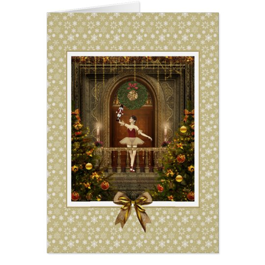 Dancing Ballerina and Nutcracker Holiday Card