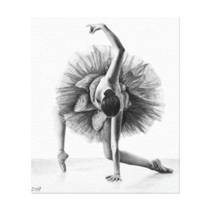 Dancing ballerina pencil drawing wrapped canvas