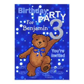 Dancing Bears 3rd Birthday Party for Boys 11 Cm X 16 Cm Invitation Card