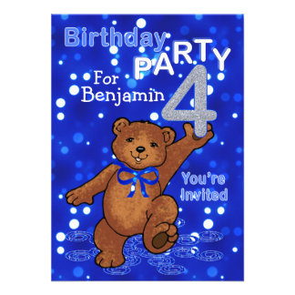 Dancing Bears 4th Birthday Party for Boys Custom Invitations