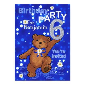 Dancing Bears 6th Birthday Party for Boys 11 Cm X 16 Cm Invitation Card