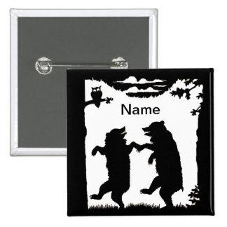 Dancing Bears Black Silhouette 15 Cm Square Badge