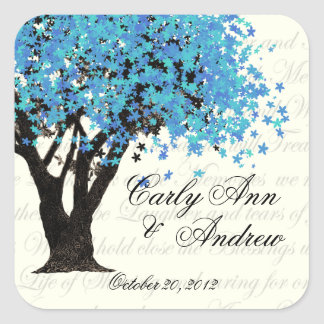 Dancing Blooms Blue Tree Square Sticker