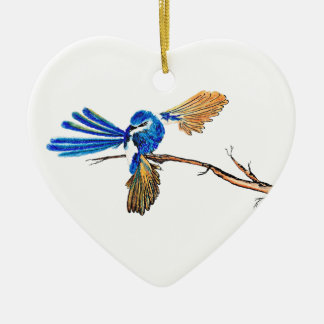 Dancing Blue Fairy Wren Australian Bird Christmas Ornament