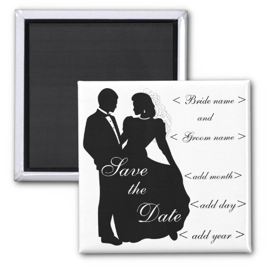 Dancing Bride and Groom Silhouette Favours Magnet