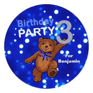 Dancing Brown Teddy Bear 3rd Birthday Party 13 Cm X 13 Cm Square Invitation Card