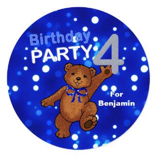 Dancing Brown Teddy Bear 4th Birthday Party 13 Cm X 13 Cm Square Invitation Card