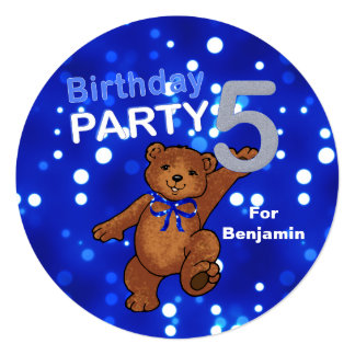 Dancing Brown Teddy Bear 5th Birthday Party 5.25x5.25 Square Paper Invitation Card