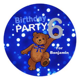 Dancing Brown Teddy Bear 6th Birthday Party 13 Cm X 13 Cm Square Invitation Card
