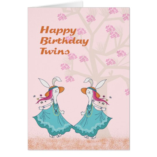 Dancing Bunnies for a Young Twins Birthday Card