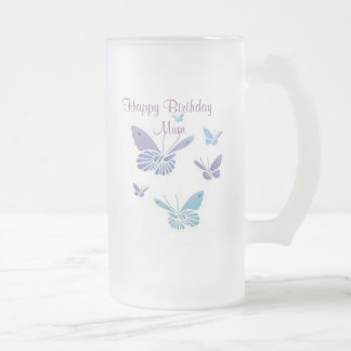 Dancing Butterflies, Happy Birthday   Mum Frosted Glass Beer Mug