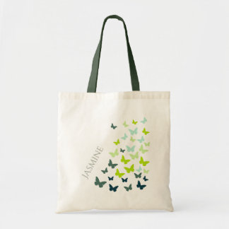 Dancing butterflies personalize tote bag
