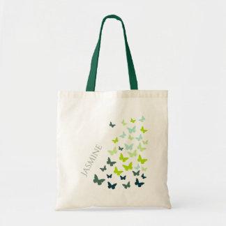 Dancing butterflies personalize tote bag