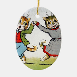 Dancing Cats Ceramic Oval Decoration