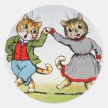 Dancing Cats Round Sticker