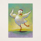 Dancing chicken fun art cute colourful happy business card