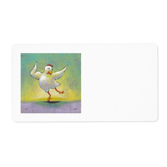 Dancing chicken fun art cute colourful happy shipping label